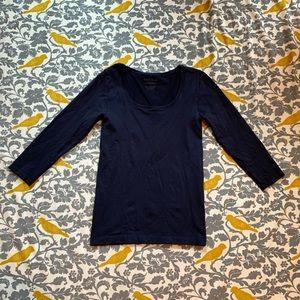 WHBM Navy Blue Nylon 3/4 Sleeve Shirt EUC Size S